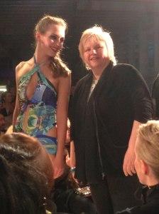 Rachel wearing 'Jewels' print with Eleanor Gates-Stuart