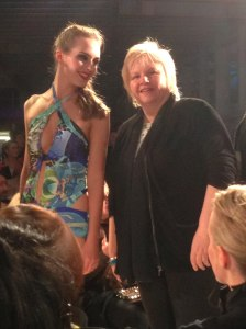 Rachel wearing 'Jewels' print with Eleanor Gates-Stuart