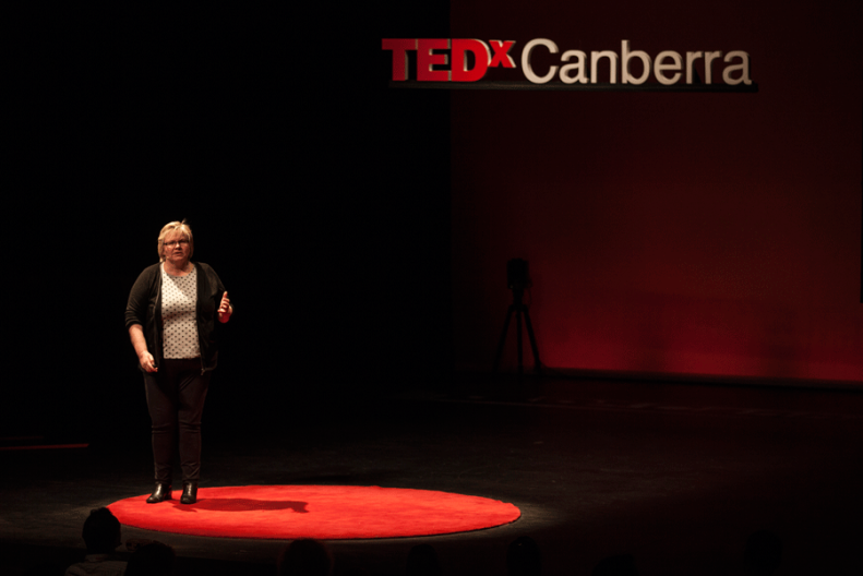 Eleanor Gates-Stuart presenting at TEDXCanberra. Photograph by Adam Thomas