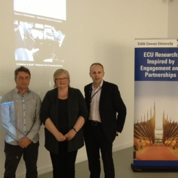 Professor Clive Barstow (Head of School of Communications and Arts ECU) , Artist Eleanor Gates-Stuart and Dr Darren Gibson (eResearch Manager ECU)