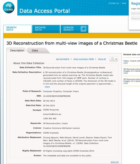 3D Reconstruction, Christmas Beetle CSIRO Data Access Portal