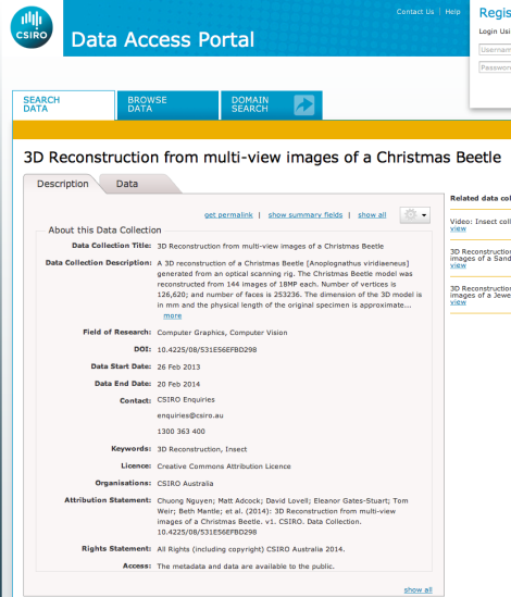 3D Reconstruction, Christmas Beetle CSIRO Data Access Portal