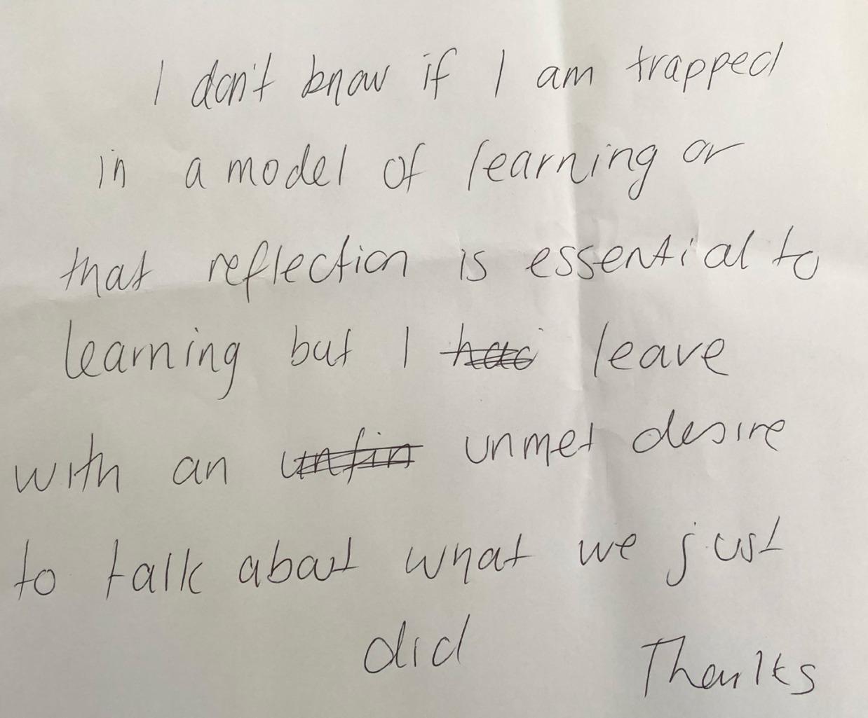 Photograph: Workshop Participant's Comment