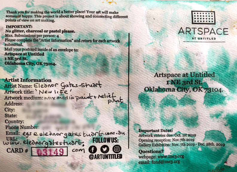 Image: Gates-Stuart, Reverse side of Painting – postcard (Personal details omitted)